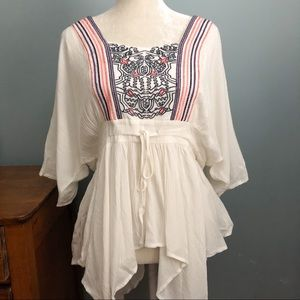 Entro embroidered boho style full bottom blouse